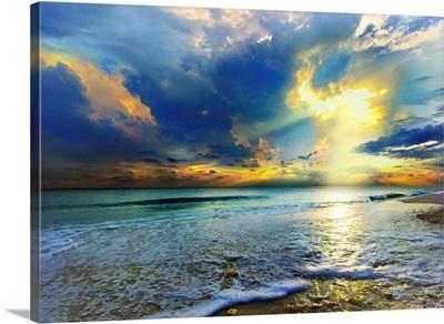 Blue Seascape  Gold Sunrays Sunset
