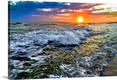 Breaking Waves-Red Purple Blue Sunset-Sea Shore