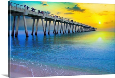 Calm Blue Sea-Yellow Sunset Pier-Navarre Beach