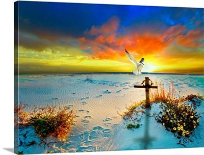 Christian  Cross Dove Gods Love Peace Sunset