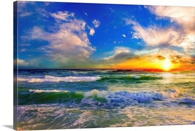Colorful Ocean Sunset Blue Seascape Sunrise