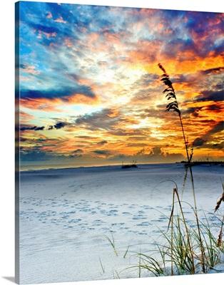 Colorful Red Orange Sunset White Sandy Beach