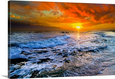Colorful Seascape Dark Red Sunset And Waves