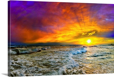 Colorful Seascape Sunset With Fiery Red Clouds