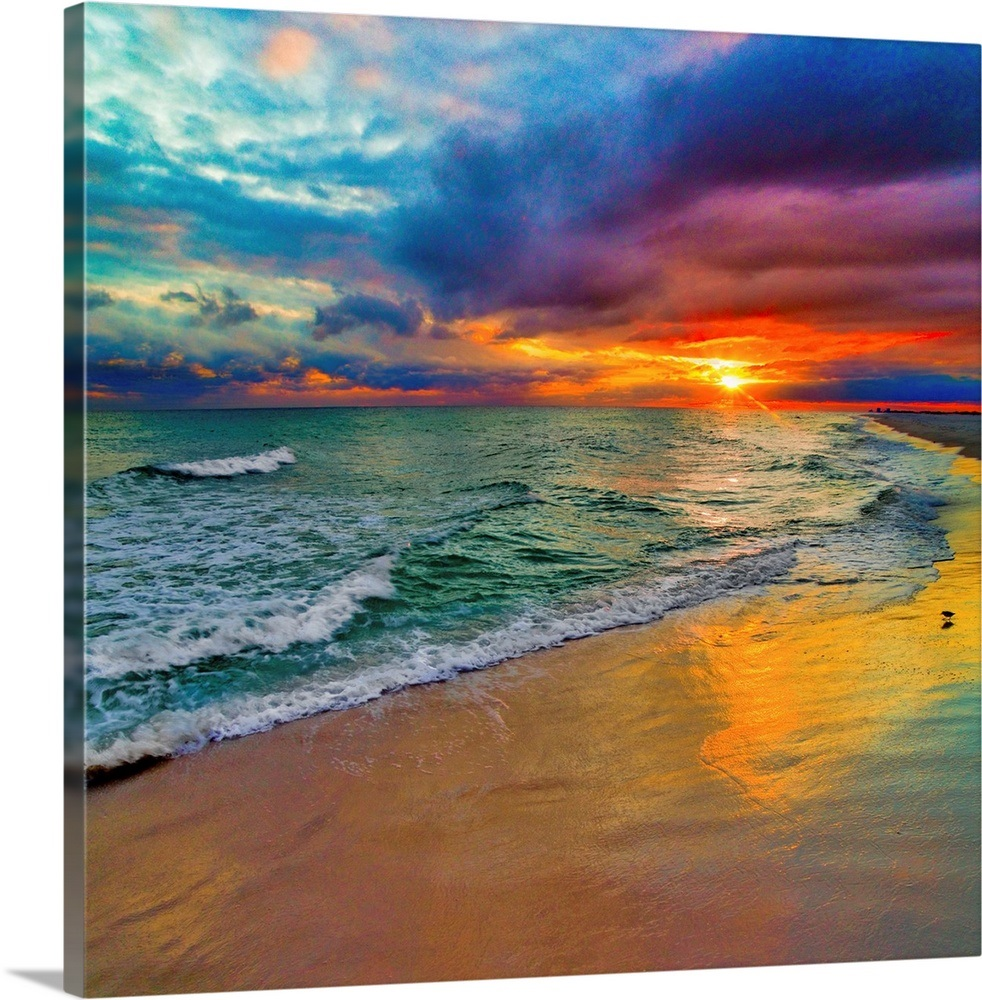 Colorful Seascape-Swirling Multi Color Sunset Wall Art ...