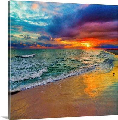 Colorful Seascape-Swirling Multi Color Sunset
