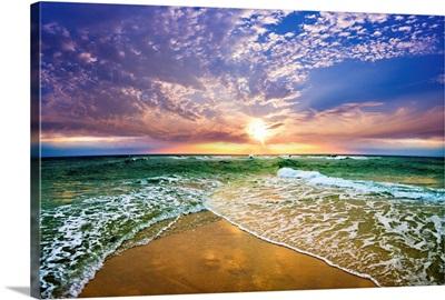 Colorful Sunset On The Beach Purple Sunset