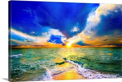 Colorful Sunset Over Ocean Beautiful Beach Sunset