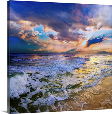 Colorful Waves Beautiful Heavenly Sunset Beach