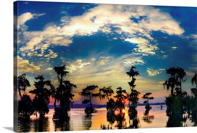 Cypress Swamp Landscape Sunset Reflection Bayou