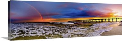 Dark Sunset Rainbow Purple Blue Sky Panorama