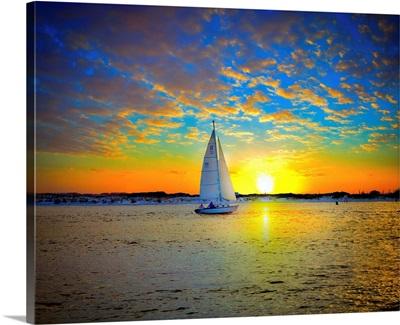 Destin Sunset Sailing East Pass-Sailboat