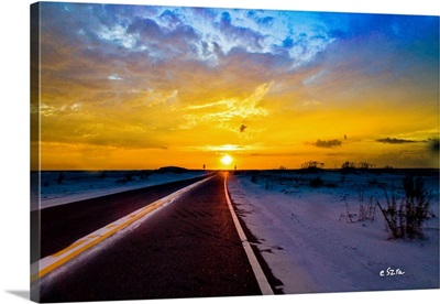 Driving Into Sunset Open Road Highway Distant Sun