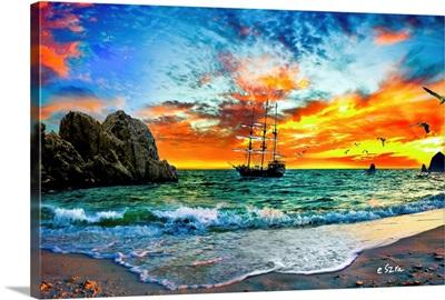 Fantasy -Pirate Ship Sailing-Red Orange Sunset