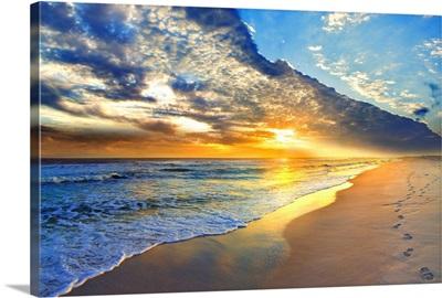 Gold Sunset Beach Waves Seascape