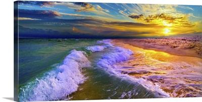 Golden Beach Sunset With Rolling Ocean Waves
