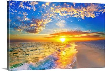 Golden Sunset Beach Blue Sky