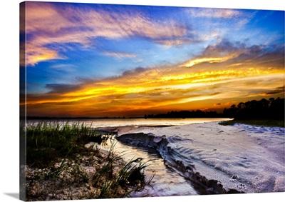 Golden Sunset Stream To Sea?cohalo Gold Sun Rays