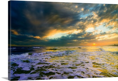 Heavenly Sunset Glowing Soft Golden Sea-Dreamy Sky