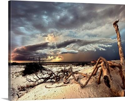 Lightning Storm Clouds Blue Landscape