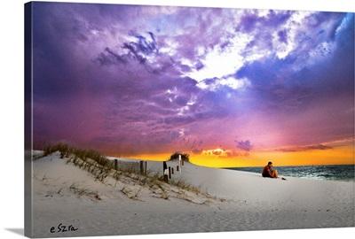 Lovers Sunset-Couple Beach Romantic-Pink Purple