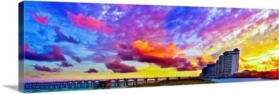 Navarre Beach Fishing Pier Sunset Panorama