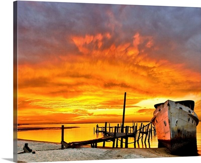 Old Boat Yellow Red Sunrise
