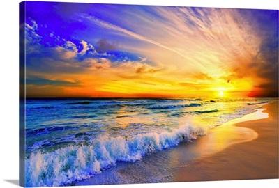 Orange Beach Sunset Crashing Wave Blue