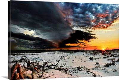 Orange Blue Lightning Storm Clouds Sunset