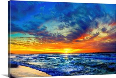 Orange Red Sunset Clouds Sea Waves