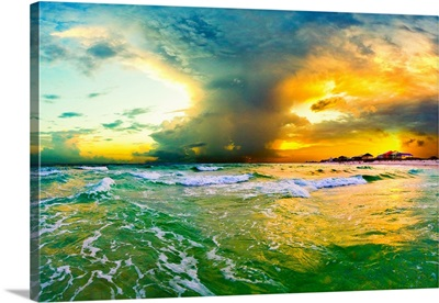 Orange Sunset Cloud Reaching Heaven Green Seascape