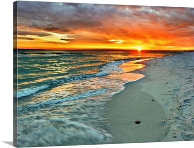 Orange Sunset Green Waves Beach