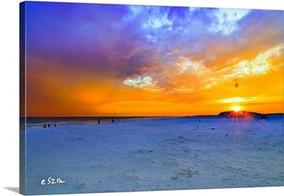 Orange Sunset White Sandy Beach-Burning Sunrise