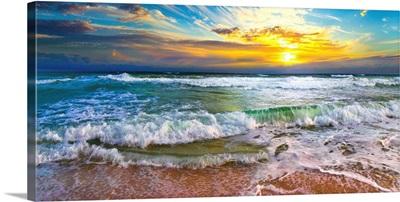 Panoramic Beach Sunset Orange Sunset Beach