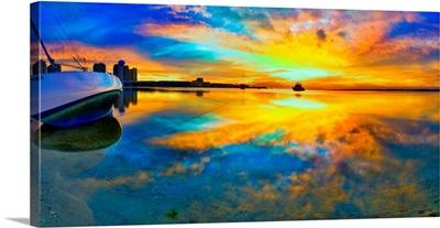 Panoramic-Beach-Sunset-Reflection-Wall- -Print