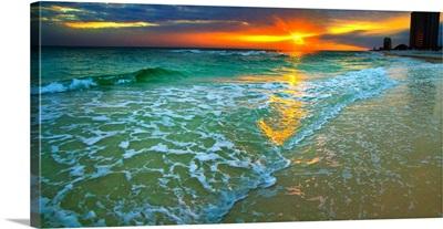 Panoramic Orange Seascape Sunset Beach