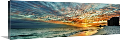 Panoramic Sunset Red Ray Blue Sky