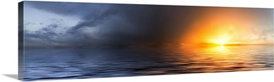 Panoramic Sunset Red Sky Seascape