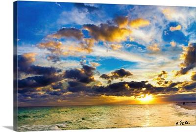 Pensacola Florida Sky-Gold Blue Cloudscape Sunset