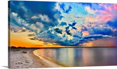 Pink Purple Blue Cloud Sunset Glass Reflection