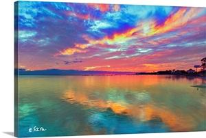 Pink Sunset Sea Beautiful Sunrise Cloud Streaks Wall Art