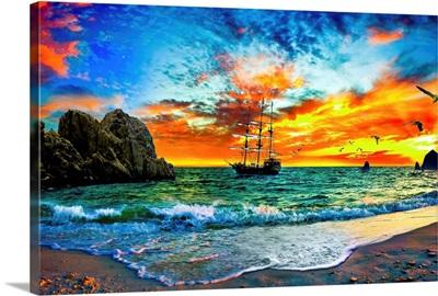 Pirate Ship Sailing Into Sunset Pirate Ship