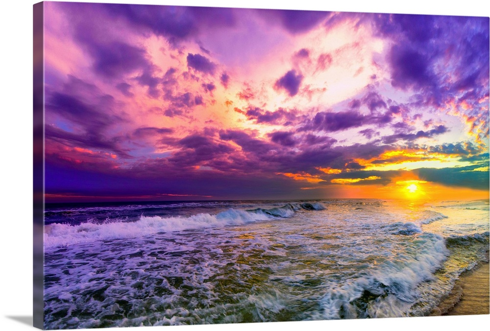 Purple And Pink Beach Sunset Wall Art Canvas Prints Framed Prints Wall Peels Great Big Canvas