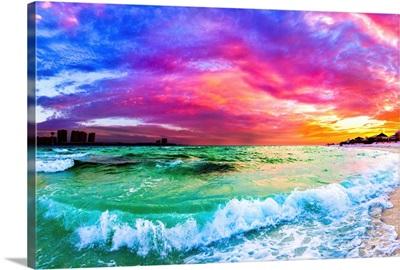 Purple Blue Sunset Ocean Wave Beautiful Sea