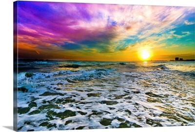 Purple Cloud Sunset Checkered Sea Surf White Foam