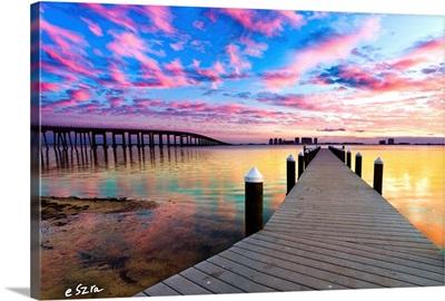 Purple Cloud Wisp Sunset Reflection-Pier Landscape