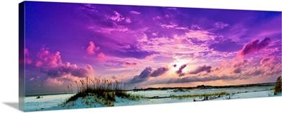 Purple Clouds Skyscape Sunset Over Beach Sand Dune