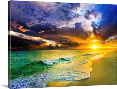 Purple Cloudscape Over Green Seascape