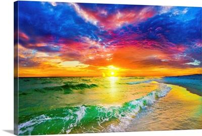 Purple Red Sunset And Beautiful Ocean Sunset Beach