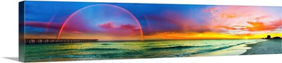 Rainbow At Sunset Blue And Purple Panorama